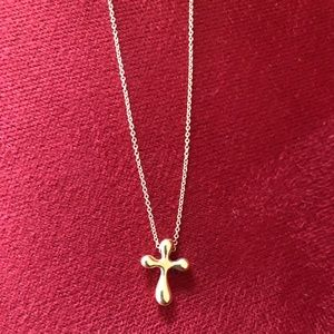 "Tiffany & Co. gold cross on 16"" gold chain"